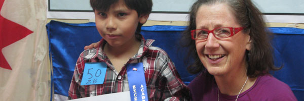HELP Honduras sponsor Barb Penner with sponsored child awarded for academic excellence